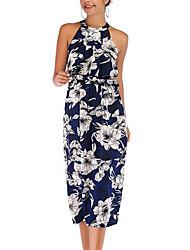 cheap -Women's Red Blue Dress Shift Print Halter Neck S M