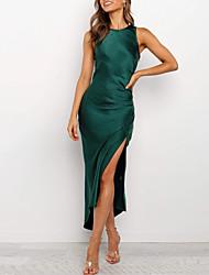 cheap -Women's Sheath Dress - Solid Color Green S M L XL