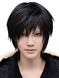 cheap -Synthetic Wig kinky Straight Halloween Asymmetrical Wig Short Natural Black Synthetic Hair 12 inch Men's Best Quality Black