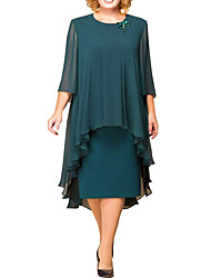 cheap -Sheath / Column Mother of the Bride Dress Plus Size Jewel Neck Knee Length Chiffon 3/4 Length Sleeve with Ruffles Ruching 2020