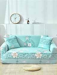 cheap -Light Blue Floral Print Dustproof All-powerful Slipcovers Stretch Sofa Cover Super Soft Fabric Couch Cover with One Free Pillow Case