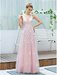 cheap -A-Line V Neck / Spaghetti Strap Floor Length Lace / Tulle Bridesmaid Dress with Embroidery