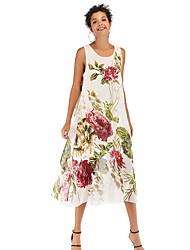 cheap -Women's A Line Dress - Print White Yellow Blue M L XL