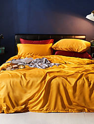 cheap -Duvet Cover Sets 4 Piece Polyester / Viscose Solid Colored Yellow Printed Simple