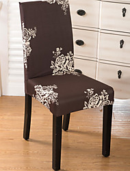 cheap -Brown Floral Print Very Soft Chair Cover Stretch Removable Washable Dining Room Chair Protector Slipcovers Home Decor Dining Room Seat Cover