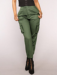Недорогие -Жен. Классический Чино Брюки - Однотонный Военно-зеленный Хаки Черный S M L