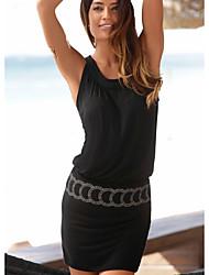 cheap -Women's Black Dress Sheath Solid Color S M Slim / Cotton