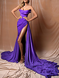 cheap -A-Line Strapless Court Train Polyester Sexy / Purple Engagement / Formal Evening Dress with Pleats / Draping / Split 2020