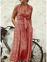 cheap -Women's Vintage Maxi Dress A Line Dress - Floral Deep V Yellow Blue Red S M L XL