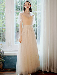cheap -A-Line Elegant Spring Prom Formal Evening Dress High Neck Half Sleeve Floor Length Tulle with Sequin 2020 / Illusion Sleeve