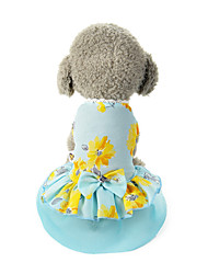cheap -Dog Costume Dress Dog Clothes Breathable Blue Costume Beagle Bichon Frise Chihuahua Polyester Bowknot Flower Party Cute XS S M L XL