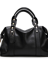 cheap -Women's Zipper Polyester / PU Top Handle Bag Leather Bags Solid Color Black / Blue / Red / Fall & Winter