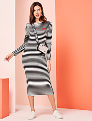 cheap -Women's Maxi Black Dress Casual Active Daily Work Shift Striped M L Slim