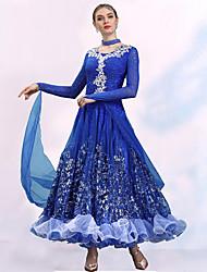 cheap -Ballroom Dance Dresses Women's Training / Performance Spandex / Organza Embroidery / Split Joint / Crystals / Rhinestones Long Sleeve Dress