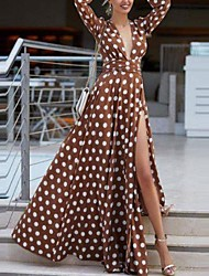 cheap -Women's Maxi Red Brown Dress Swing Polka Dot Deep V M L