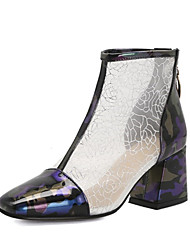 cheap -Women's Boots Chunky Heel Round Toe PU Spring &  Fall Wine / Purple / Green