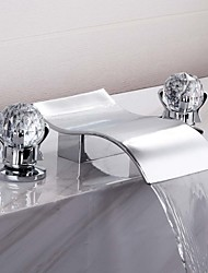 cheap -Bathroom Sink Faucet - Waterfall / Widespread Chrome Widespread Two Handles Three HolesBath Taps
