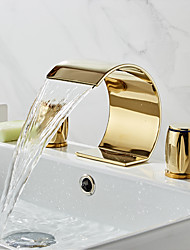 cheap -Bathroom Sink Faucet - Waterfall Electroplated Widespread Two Handles Three HolesBath Taps