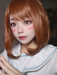cheap -My Hero Academia Boko No Hero Ochaco Uraraka Cosplay Wigs Women's Bob Straight bangs 14 inch Heat Resistant Fiber kinky Straight Brown Brown Anime