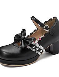 cheap -Women's Heels Chunky Heel Round Toe Bowknot / Buckle PU Sweet / Preppy Spring &  Fall Black / Pink / Beige