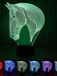 cheap -1Pc Usb Power Abstract Art 3D Lights Colorful Touch Gradient Vision Night Lights Colorful 3D Acrylic Table Lamp &Horsehead lamp