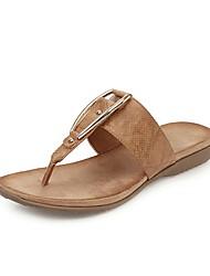cheap -Women's Sandals Flat Heel Open Toe PU Vintage / Casual Summer Black / Camel / Almond