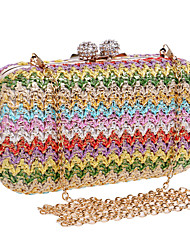 cheap -Women's Chain Polyester / Straw Evening Bag Color Block Dark Brown / Gold / Rainbow