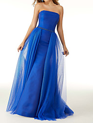 cheap -Mermaid / Trumpet Strapless Floor Length Satin / Tulle Elegant / Sexy Prom Dress with Pleats / Overskirt 2020