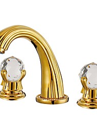 cheap -3 Holes Gold TI-PVD Bathroom Basin Sink Mixer Faucet Crystal Handle Wash Tap
