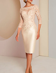 cheap -Sheath / Column Mother of the Bride Dress Elegant Jewel Neck Knee Length Charmeuse 3/4 Length Sleeve with Appliques 2020