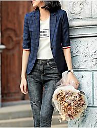 cheap -Women's Daily Regular Jacket, Plaid Notch Lapel Long Sleeve Polyester Blue / Light gray / Dark Gray