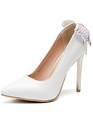 cheap -Women's Wedding Shoes Stiletto Heel Pointed Toe Bowknot PU Spring & Summer White