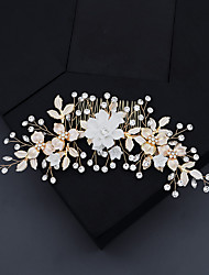 cheap -Women's Hair Combs For Wedding Anniversary Gift Formal Rhinestone Alloy Golden 1pc