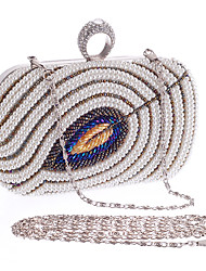 cheap -Women's Pearls / Chain Polyester Evening Bag Color Block Black / Champagne / Beige