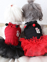 cheap -Dog Costume Dress Dog Clothes Breathable Red White Black Costume Beagle Bichon Frise Chihuahua Cotton Voiles & Sheers Bowknot Party Cute XS S M L XL