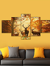 cheap -AMJ hot sale autumn elk pentagram living room sofa background wall decoration canvas painting frameless painting core 158*80 cm