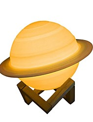 Недорогие -новый дропшиппинг 16 цветов перезаряжаемые экологически чистые 3d печати сатурн лампа лунный цвет ночник с дистанционным челноком