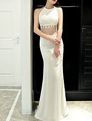 cheap -Mermaid / Trumpet Halter Neck Sweep / Brush Train Polyester Sexy / White Engagement / Formal Evening Dress with Appliques 2020