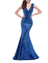 cheap -Mermaid / Trumpet V Neck Floor Length Polyester Black / Blue Prom / Formal Evening Dress with Sequin 2020