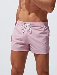 cheap -Men's Basic Boy Leg Bikini Bottoms Beach board shorts Swimwear Swimsuit - Solid Colored S M L Black Blue Red Blushing Pink Royal Blue