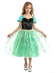 cheap -Princess Anna Dress Party Costume Christmas Dress Girls' Movie Cosplay A-Line Slip Vacation Dress Green / Green (With Accessories) Dress Christmas Halloween Children's Day Polyester
