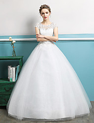 cheap -Ball Gown Wedding Dresses Jewel Neck Floor Length Lace Tulle Polyester Short Sleeve Romantic with Lace Crystals 2020