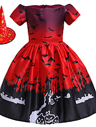 cheap -Witch Princess Dress Flower Girl Dress Girls' Movie Cosplay A-Line Slip Halloween Red Dress Cap Halloween Children's Day Polyester / Cotton Blend Polyster / Sleeveless