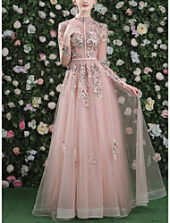 cheap -A-Line Vintage Pink Engagement Formal Evening Dress High Neck Long Sleeve Floor Length Tulle with Appliques 2020