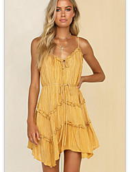 cheap -Women's Asymmetrical Yellow Dress A Line Solid Color Strap V Neck S M