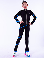 cheap -Over The Boot Figure Skating Tights Figure Skating Fleece Jacket Girls' Ice Skating Top Bottoms Black Fleece Spandex High Elasticity Training Competition Skating Wear Crystal / Rhinestone Long Sleeve