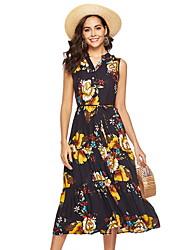 cheap -Women's Maxi Blue Dress Sheath Print V Neck L XL