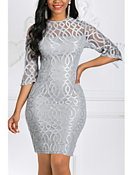 cheap -Women's Plus Size Mini Bodycon Dress - 3/4 Length Sleeve Solid Colored Lace Spring Fall Elegant Cocktail Party Slim Red Gray S M L XL XXL XXXL XXXXL XXXXXL