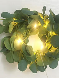 cheap -2M Artificial Dark Green Eucalyptus Garland Fairy String Leaves Vine Fake Vines Rattan Artificial Plants Ivy Wreath Wall Decor Wedding Decoration