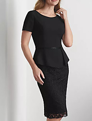 cheap -Sheath / Column Mother of the Bride Dress Elegant Jewel Neck Knee Length Lace Short Sleeve with Lace Embroidery 2020
